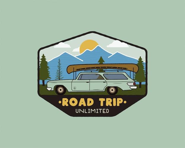 Logo de voyage vintage sur la route