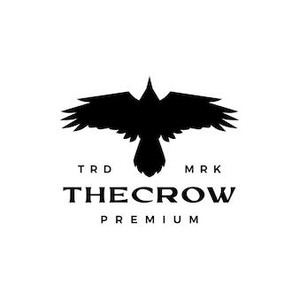 Logo de vue de dessus de mouche de corbeau de corbeau