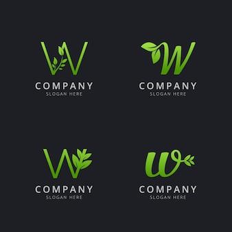 Logo w initial avec éléments de feuille de couleur verte