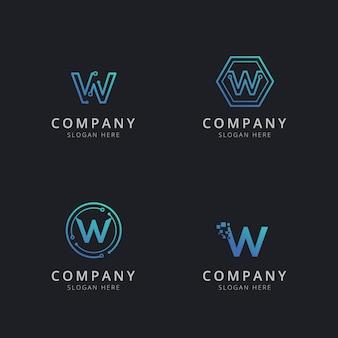 Logo w initial avec éléments technologiques de couleur bleue