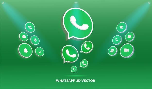 Logo whatsapp et jeu d'icônes dans un style vectoriel 3d