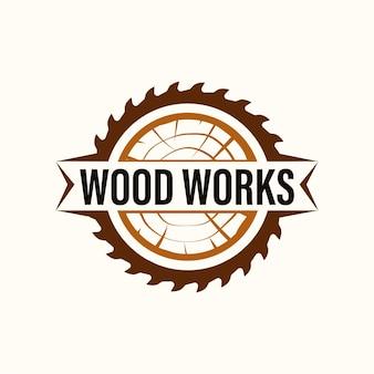 Logo wood industries company avec un style classique et vintage