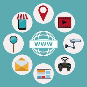 Logo world wide web avec des éléments d'icônes technologie sans fil