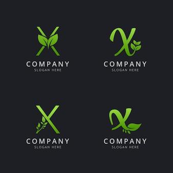 Logo x initial avec éléments de feuille de couleur verte