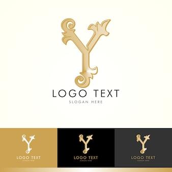 Logo y, monogramme y, or, vecteur y, création de logo