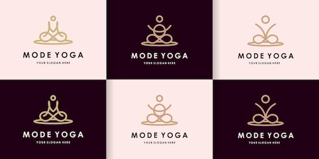 Logo de yoga créatif avec concept de lettre mov