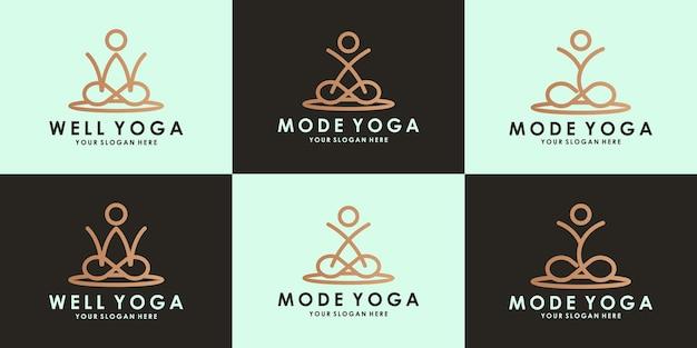 Logo de yoga lettre wxy avec concept de ligne circulaire