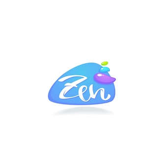 Logo zen et méditation avec composition de lettrage et pierres de spa