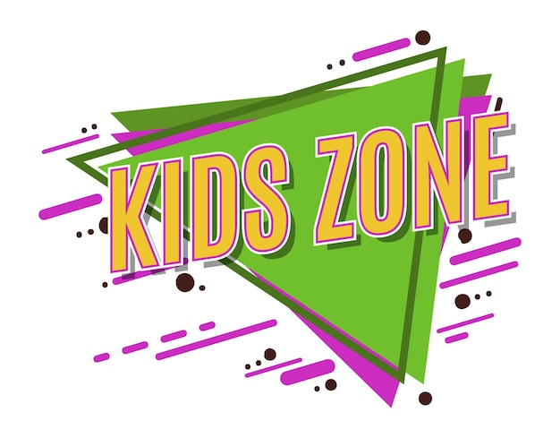 Logo de la zone des enfants. décoration de salle de jeux. lieu de jeu amusant.