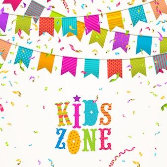 Logo de la zone des enfants sur un fond avec des guirlandes de drapeaux multicolores et des confettis