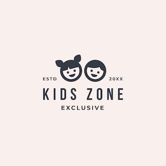 Logo de zone enfants jouant