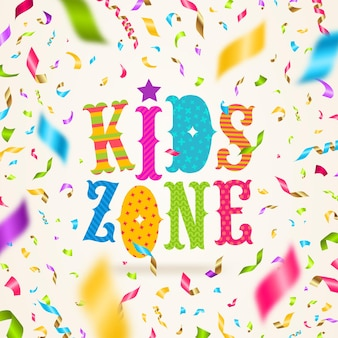 Logo de la zone pour enfants avec des confettis colorés.