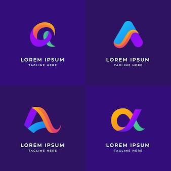 Logos alpha colorés de conception plate