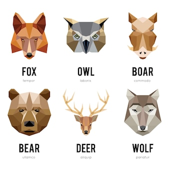 Logos d'animaux à faible polygone. ensemble de logo animaux géométriques triangulaires.