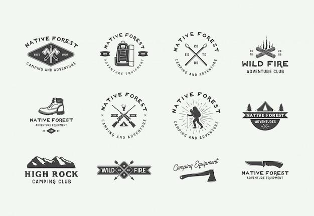 Logos d'aventure de camping en plein air