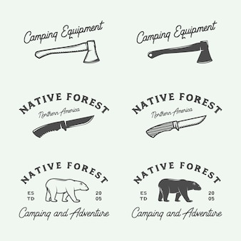Logos d'aventure de camping