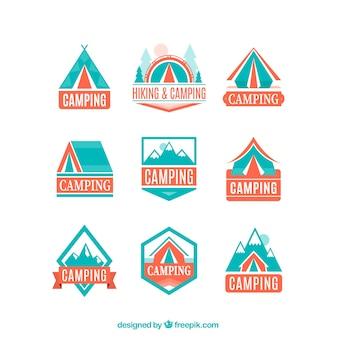 Logos d'aventure en couleurs bleu et orange clair