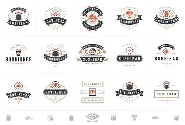 Logos et badges de restaurant de sushi mis en cuisine japonaise avec des rouleaux de saumon sushi