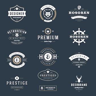 Logos et badges vintage rétro définir des éléments de conception vectorielle