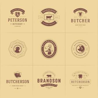 Les logos de boucherie conviennent aux badges de ferme ou de restaurant avec des animaux et des silhouettes de viande