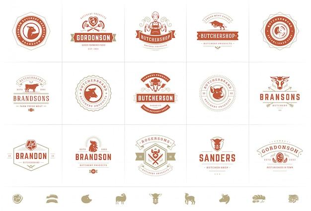 Logos de boucherie mis illustration vectorielle bon pour les badges de ferme ou de restaurant avec des animaux et de la viande