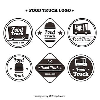 Des logos de camions gastronomiques amusants avec style rétro
