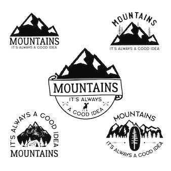 Logos de camp vintage, ensemble de badges de montagne.
