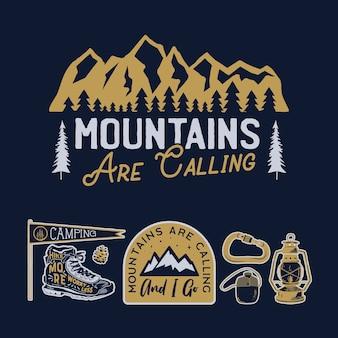 Logos de camp vintage, ensemble de badges de montagne.
