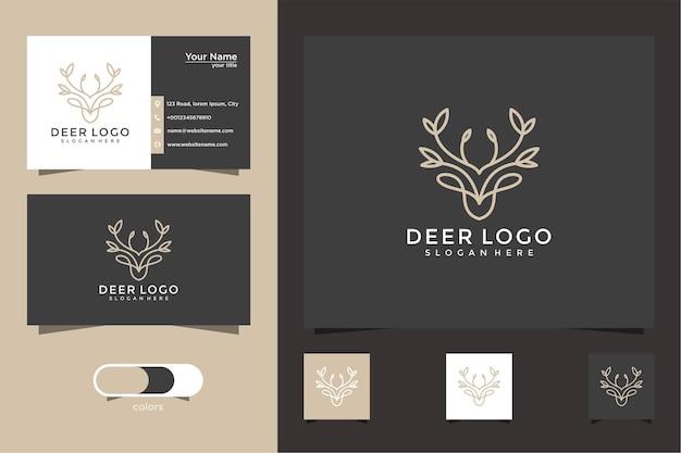 Logos Et Cartes De Visite Inspirants Des Cerfs Et Des Feuilles Vecteur Premium