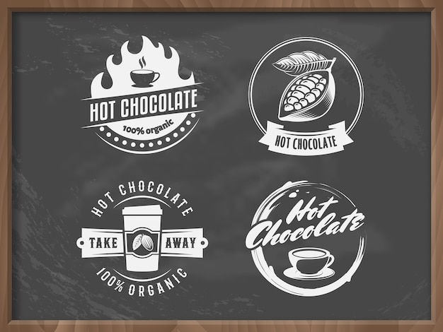 Logos de chocolat chaud de vecteur.