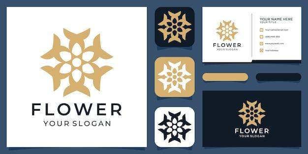 Les logos de conception de logo de fleur peuvent être utilisés pour la boutique de décoration de salon de beauté spa vecteur premium