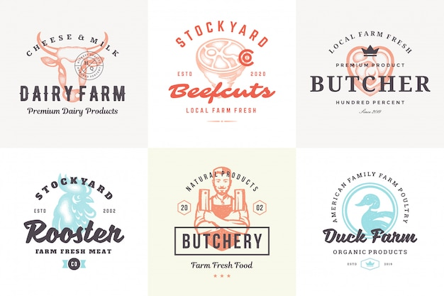 Logos dessinés à la main et étiquettes animaux de ferme avec typographie vintage moderne style dessiné à la main mis en illustration vectorielle.