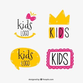 Logos d'enfants jaunes et roses