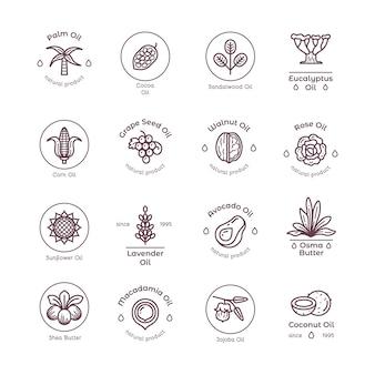 Logos et étiquettes linéaires d'huile de produits de beauté biologiques sains