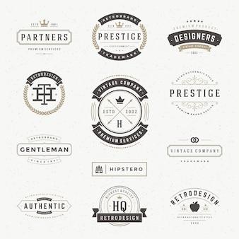 Logos ou étiquettes vintage rétro définie des éléments de conception vectorielle