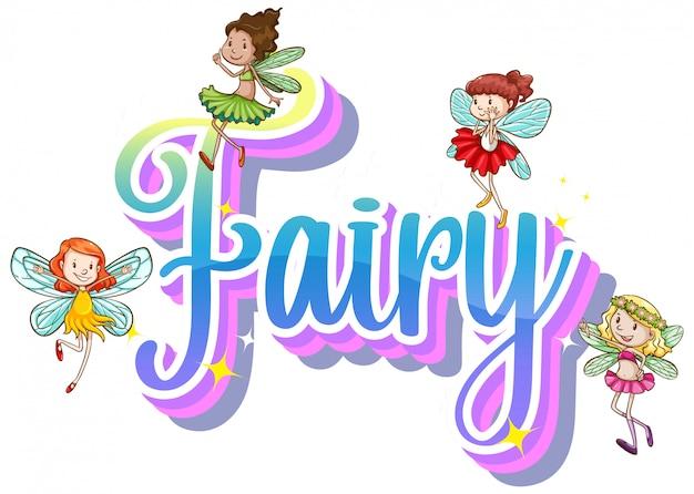 Logos de fées avec petites fées sur fond blanc