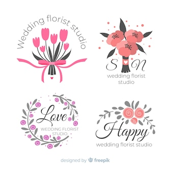 Logos de fleuriste de mariage colorés