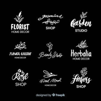 Logos de fleuriste de mariage noir