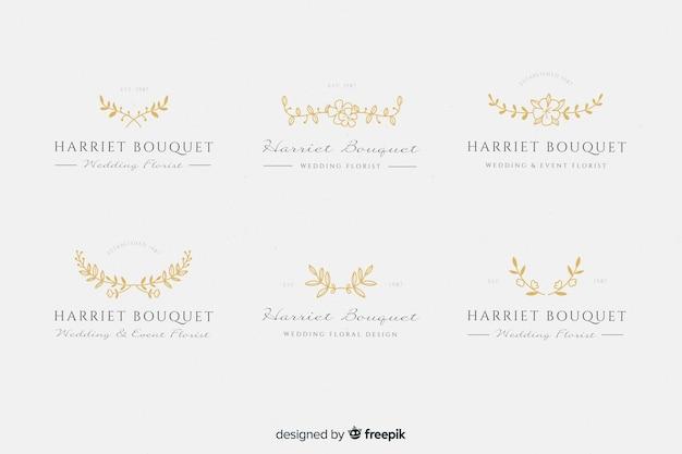Logos de fleuriste de mariage en or