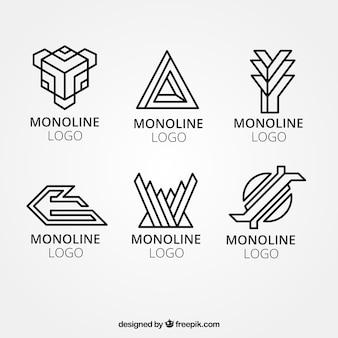 Logos géométriques d'entreprise en mode monoline