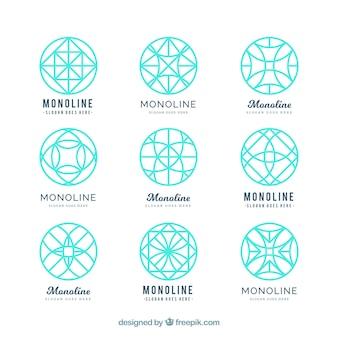 Logos géométriques turquoise en style monoline