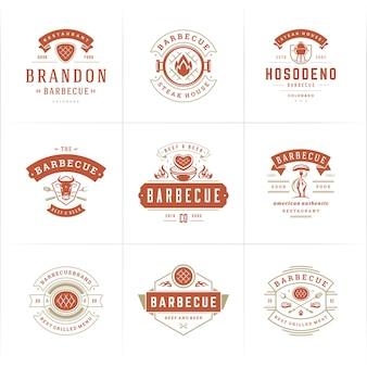 Logos de grill et barbecue mis en illustration