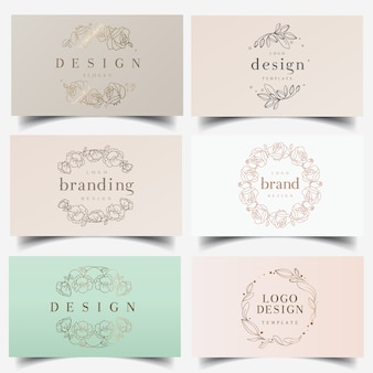 Logos de guirlande florale féminine