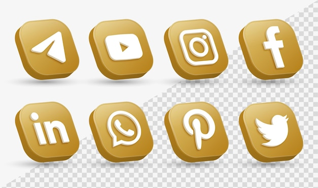 Logos d'icônes de médias sociaux 3d dans l'icône du logo de mise en réseau instagram de facebook carré doré moderne