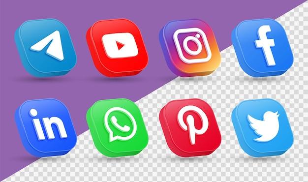 Logos d'icônes de médias sociaux 3d dans l'icône de mise en réseau instagram de facebook carré de style moderne