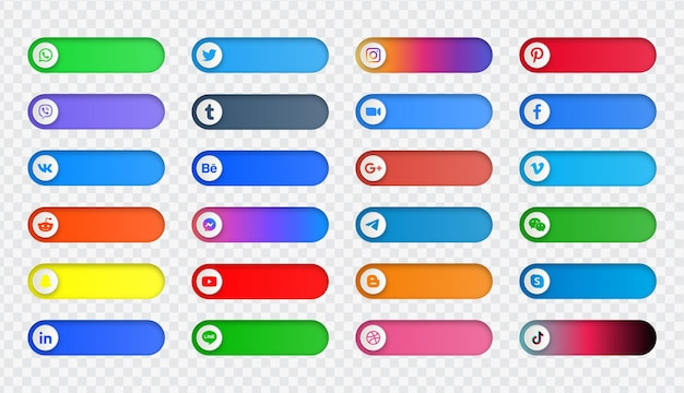 Logos d'icônes de médias sociaux ou bannières de plate-forme de réseau dans le bouton de commutation