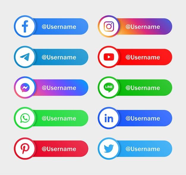 Logos d'icônes de médias sociaux modernes ou bannières de plate-forme de réseau icône instagram de facebook