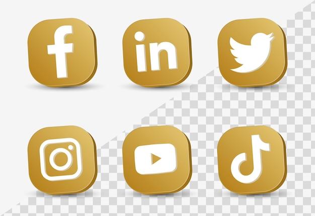 Logos d'icônes de médias sociaux populaires dans un cadre doré 3d ou des boutons de plates-formes de réseautage