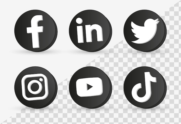 Logos d'icônes de médias sociaux populaires dans un cadre noir 3d ou des boutons de plates-formes de réseautage