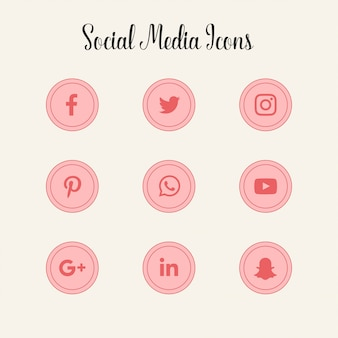 Logos d'icônes de médias sociaux roses
